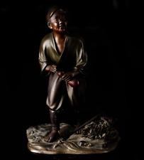 Japanese Antique Bronze Statue Sculpture Firewood Gathering Meiji Period