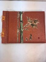 Vtg 60-70's Orange Sparkled Oriental Bamboo Cover Scrapbook 25 Pages