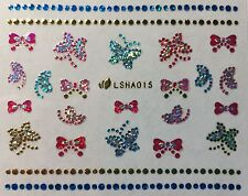 Nail Art 3D Glitter Decal Stickers Sparkle Butterflies with Rhinestone LSHA015