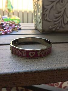 Coach Poppy Woman's Bracelet Bangle Hearts Silver Pink Tones