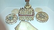 Lot Collection Seashell Trinket Boxes Vase Shell Art Plus Extras