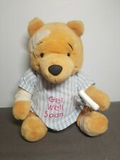 "DISNEY ""GET WELL SOON"" WINNIE THE POOH PLUSH BANDAGE/CRUTCH/HOSPITAL GOWN 15"""