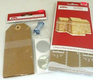 Gingerbread House Shape Gift Boxes Tags Seals Kraft Paper Food Gifts Candy 3 Ct
