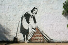 "Banksy, Sweep it Under The Carpet, Graffiti Art, Giclee Canvas Print, 8""x12"""