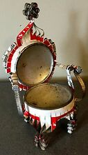 Vintage Folk Art Scrolled Aluminum Mini Throne Chair made from Beer Can