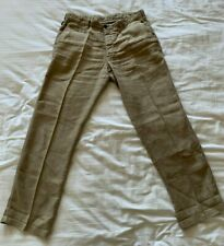 Armani Collezioni Linen Beige Trousers Chino Regular Relaxed Casual 32 x 32