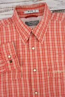 ORVIS Men's Trout Bum Vented Western Snap Shirt Coral / Red White Plaid - Large