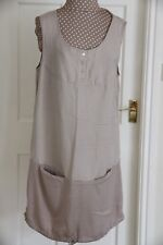 New Fransa Unusual Size 16 Beige loose fit sleeveless Shift Dress Cost £64.99
