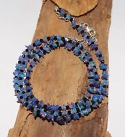 "925 Silver 29 TCW 19""  Spinel & Natural Ethiopian  Opal chip blue Bead Necklace"