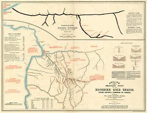 1898 Map of the Klondike Gold Region Yukon Canada Mining Wall Art Poster Print