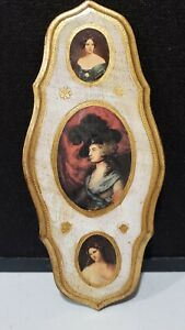 """Vintage Italy Florentine 3 Portraits Victorian Lady 13.5"""" Wall Hanging Plaque"""