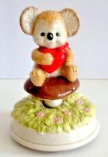 Music Box Otagrii Bear on Mushroom Gibson Greeting Cards Heart Rotates
