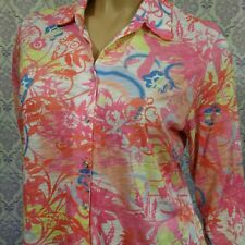 Tango Mango Womens Shirt Size M Bright Floral Pearl Snap Button Stretch Summer