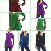 Womens Jumper Solid Casual Pullover Tops Loose Long Sleeve T-Shirt V Neck