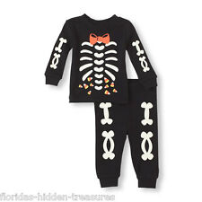 866b3b7da Children's Place Boys 9-12 Months Black Skeleton Halloween Pajama 2 Pcs Set  NEW