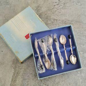 Rodd Silver Plated Demitasse Coffee Spoons Australia 1960s Black Unpolished Box