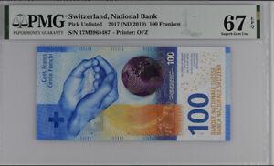 SWITZERLAND 100 FRANKEN 2017 / 2019 P NEW SUPERB GEM UNC PMG 67 EPQ NEW