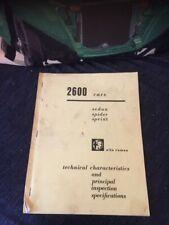 Alfa Romeo 2600 Shop Technical Specifications Manual Service Repair