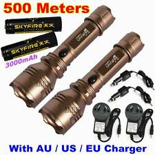 2 x Ultrafire CREE Q5 LED 500meter 18650 Rechargeable TACTICAL Flashlight Torch