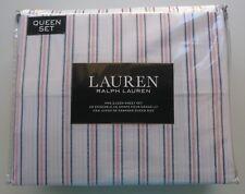 Ralph Lauren Queen Sheet Set White Blue Red Striped 100% Cotton Extra Deep 4 Pc