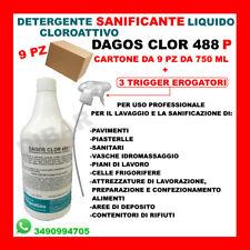 DISINFETTANTE PER SUPERFICI CLOROATTIVO DAGOS CLOR 488P CARTONE DA 9 PEZZI 750ML