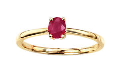 9ct Yellow Gold Real Ruby Ring - Size O - UK Hallmarked