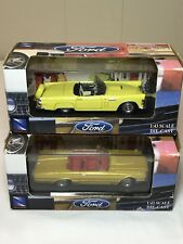 1956 & 1966 Ford Thunderbird Convertible 1/43 Yellow Gold Acrylic Display Case