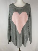 Torrid Women's 3, 3X Gray Pink Heart Open Stitch Chunky Sweater Sheer Pullover