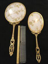 Vintage 3 pc. Floral Filigree Dresser Vanity Set — Hand Mirror, Brush, Comb