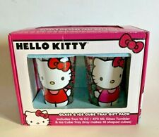 Hello Kitty Glasses Tumblers Cups and Ice Cube Tray Gift Pack New In Box