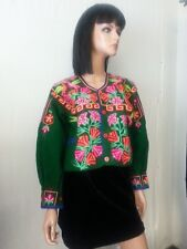 VTG Hand Made Short Jacket Coat Top Green Floral Love Birds Embroidery Hippie M