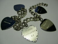 STERLING SILVER 925 ESTATE DOUBLE CURB ENGRAVED HEARTS CHARM 7.5 INCH BRACELET