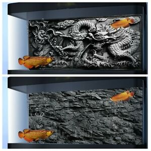 Aquarium Background 3D Poster Fish Tank Decorations Dragon Relief Black Stone HD