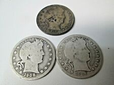 Lot of 3 1908 D 1914 1916 D US Barber Silver Quarter Coin