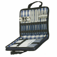 Cutlery Picnic Set For Four Persons Travel Bag Carrying Case  Carving Board Fold