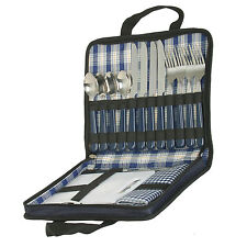 Picnic Wallet Travel Bag Carrying Case Set For Four Cutlery Carving Board Fold
