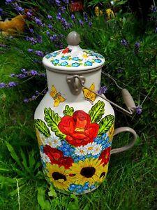 Milchkanne-Bodenvase-.Handbemalt-Sonnenblumen,Mohn,Kornblumen/Winter,Kirche-5