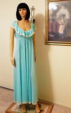 CLAIRE SANDRA by LUCIE ANN Vintage Nylon Nightgown ROBIN EGG BLUE size 34 Bust