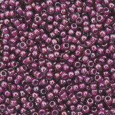 15 grams Toho Round Seed Beads 11/0 - #1076 - Inside Color Grey/Magenta Lined