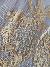 More details for finest hand made antique tambour irish limerick lace collar yoke floral sprigs