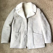VTG Kastoria Marlboro Man Sheepskin Wool Large Coat Jacket Men's 44 Made Greece