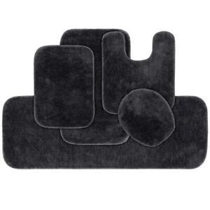 5PC Washable Bathroom Rug Set Dark Gray Bath Mat Runner Toilet Contour Lid Cover