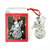 Lenox Sparkle and Scroll Clear Crystal Snowman Ornament Silverplate 851309