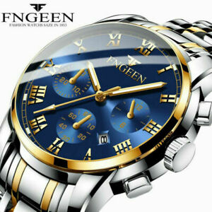 UK Luxury Mens Watches Quartz Stainless Steel Analog Sports Luminous Wrist Watch