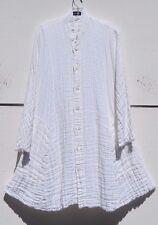 """Eskandar WHITE Medium Weight Double Sided Crinkled Linen 38"""" LongJacket (1) $895"""