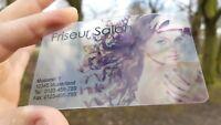 RABATTKARTEN Visitenkarten PVC einseitig Farbig Bedruckt Transparent