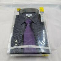 Croft & Barrow New Men's Black/White Long Sleeve Shirt w/ Purple Tie M 15/15 1/2
