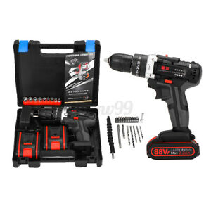 🔥 Cordless Brushless Drill Driver Screwdriver Chunks Set 2 Speed W/ 2X Battery