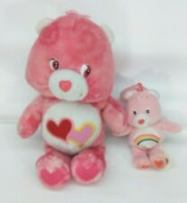 "Care Bears: 2003 10"" tie-dyed Love a Lot bear & 2005 BK Cheer key ring plush F/S"