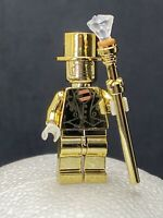 Mr Gold Minifigure Custom With Hat & Staff Lego Compatible Minifig New Series 10